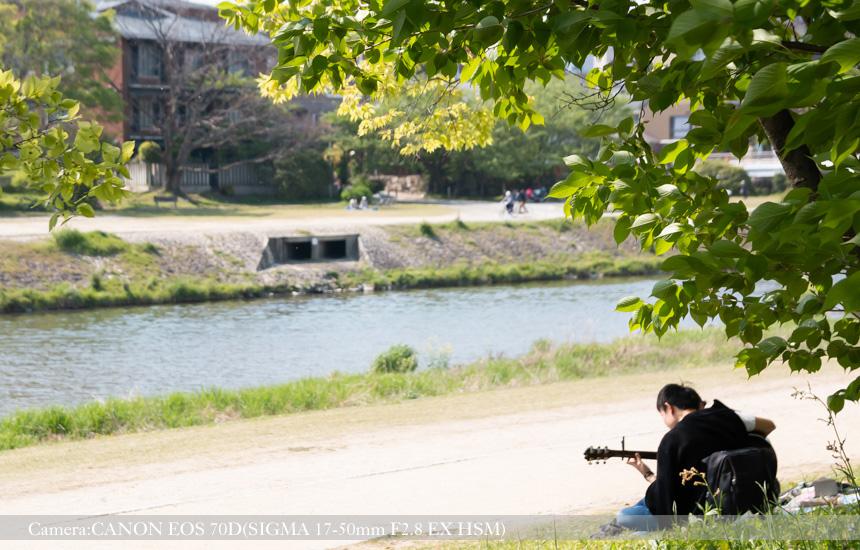 ギターを奏でる(鴨川東岸より)
